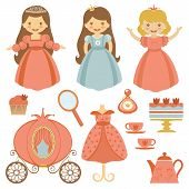 stock photo of tea party  - A cute collection of beautiful princesses and tea party elements - JPG