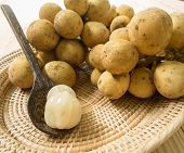 pic of lanzones  - Fruit with a sweet longkong Peeled placed in a wooden spoon - JPG