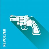 image of pistols  - vector vintage pistol gun icon on blue background - JPG