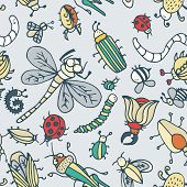 stock photo of summer insects  - Cute cartoon insect pattern - JPG