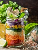 picture of mushroom  - Rainbow salad in a jar of layers of different vegetables - JPG