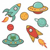 image of outer  - Colorful outer space stickers collection in vector format - JPG