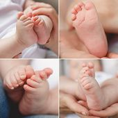 stock photo of lap  - collage of a newborn baby and gentle hands of the mother - JPG