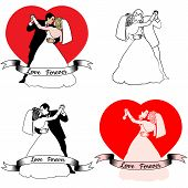 stock photo of fiance  - Sketch set of beautiful young bride and groom in dance - JPG