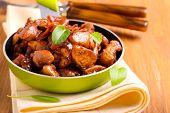 foto of soy sauce  - Chicken breast bits in soy sauce casserole - JPG