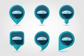image of flat-bread  - Bread flat mapping pin icon with long shadow eps 10 - JPG