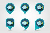 stock photo of long-fish  - Fish flat mapping pin icon with long shadow eps 10 - JPG