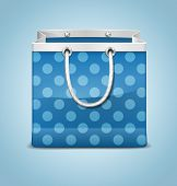 picture of reusable paper shopping bag  - Vector Icon of Dotted Blue Shopping Bag - JPG