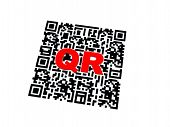 stock photo of qr-code  - Render of QR code with red letters - JPG