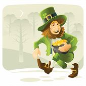 picture of leprechaun  - Leprechaun with a pot of coins runs along a forest road - JPG