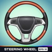 image of steers  - Realistic Vector Icon of Car Steering Wheel - JPG