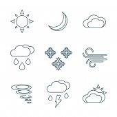 foto of windy weather  - vector dark grey outline weather forecast icons set white background - JPG