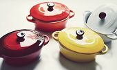 stock photo of pot roast  - Several little colorful cooking pots for julienne - JPG