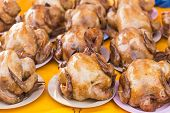 picture of boil  - Boiled chicken for Chinese New Year in market Thailand - JPG