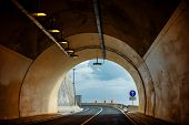 picture of tunnel  - Car tunnel with road infrastructure - JPG