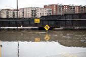 foto of underpass  - A flooded 9 underpass on a cloudy day in the Chicago area - JPG
