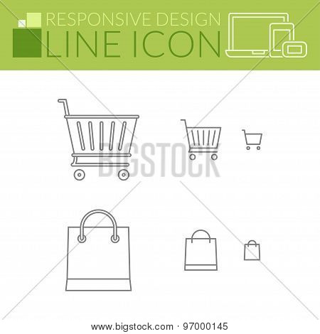 Line Icons. Responsive Design. Shopping Cart And Bag.