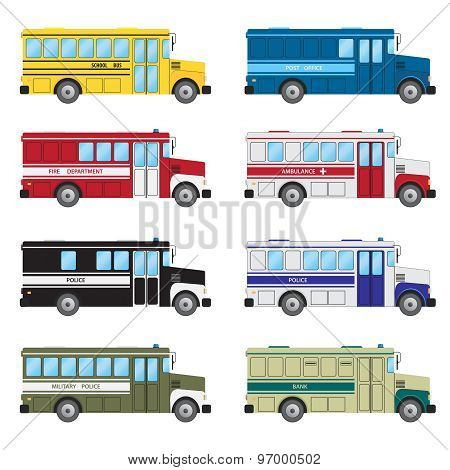 Set Of Buses Of Emergency Services.