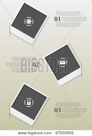 Infographics design with Polaroid frames. Vector background illustration