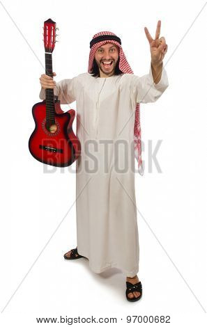 Arab man playing isolated on white