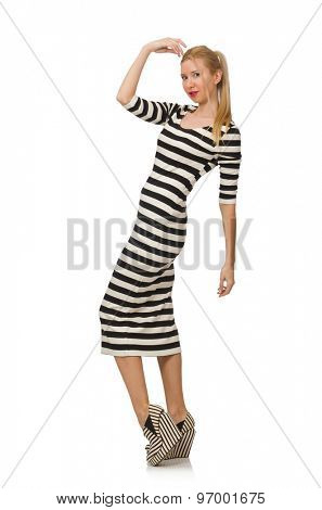 Young woman in long striped dress isolated on white