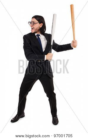 Young elegant man in black suit holding bat isolated on white