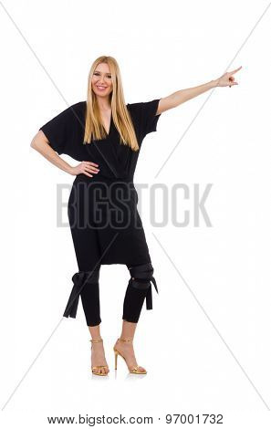 Pretty young woman in black clothing isolated on white