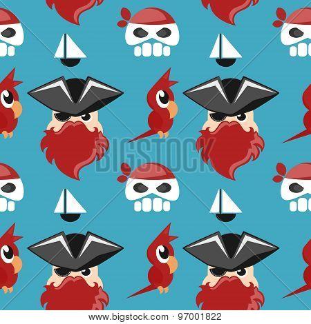 cartoon pirate seamless background