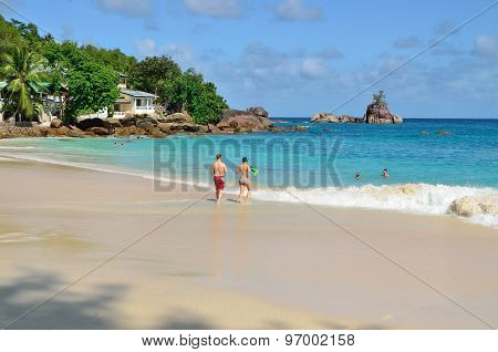 Tropical Sandy Beach On Seychelles Islands