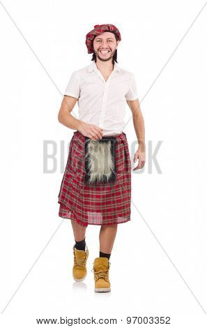Walking happy scotsman isolated on white