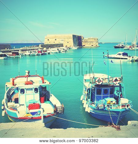 Fishing boats in Heraklion, Crete, Greece. Instagram style filtered image