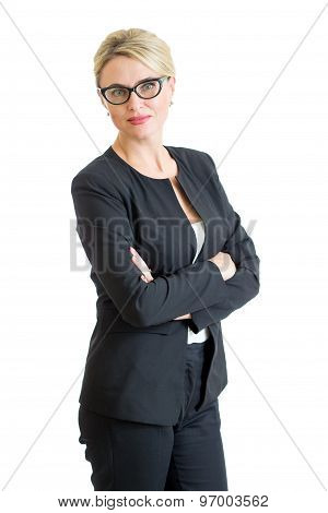confident businesswoman weared eyeglasses isolated