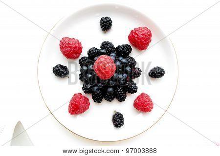 incredibly beautiful composition of berries: raspberries blackberries mulberries