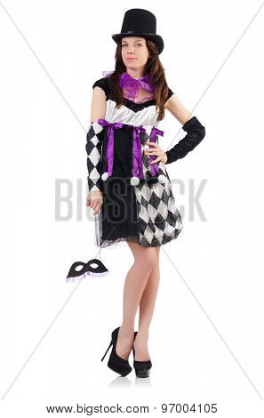 Pretty girl in jester costume isolated on white
