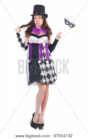 Pretty girl in jester costume with mask  isolated on white