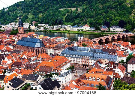 Rooftops of Heidelberg old town, Baden-Wurttemberg state,