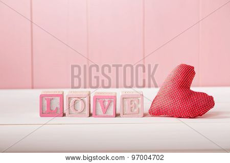 Red Romantic Heart With The Word Love