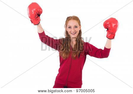 Pretty female sportsman with box gloves isolated on white