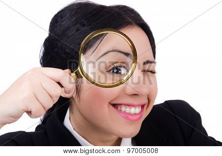 Business woman holding magnifying glass isolated on white