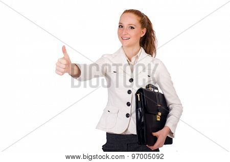 Red hair girl holding briefcase isolated on white