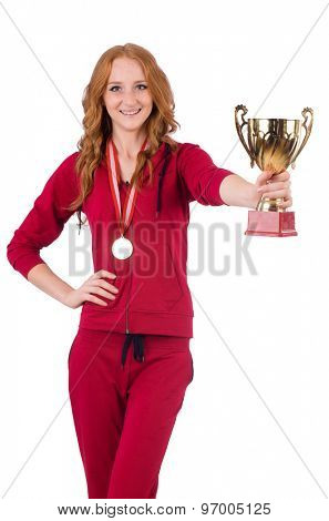 Pretty female sportsman with award isolated on white