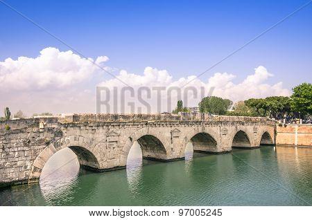 Roman Tiberius Bridge On Marecchia River In Rimini Italy