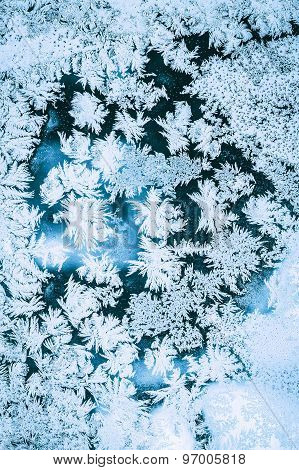 Ice Background, Natural Blue Frosty Pattern