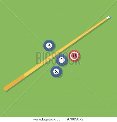 Vector illustration of billiards. Pill. cue and balls.