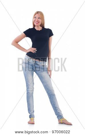 Woman in blue jeans isolated on white