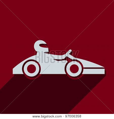 Kart with driver icon pictograph