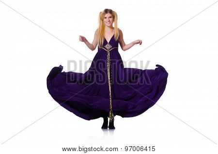 Girl in violet dress isolated on white