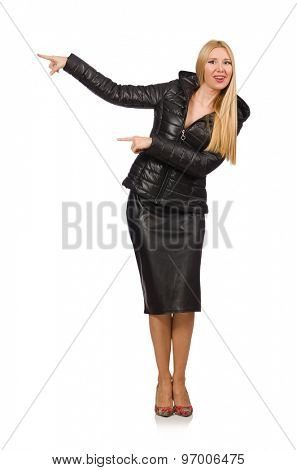 Young woman in bologna jacket isolated on white