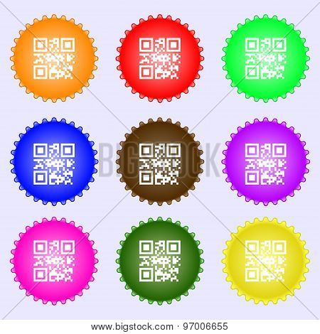 Qr Code Icon Sign. A Set Of Nine Different Colored Labels. Vector