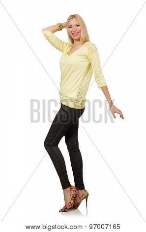 Pretty woman in yellow blouse isolated on white